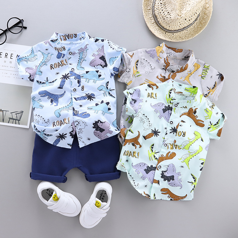 2020 Summer Baby Boy's Suit Baby Clothing Set For Boys Cute Casual Clothes Set Dinosaur Top Shorts Infant Suits Kids Clothes