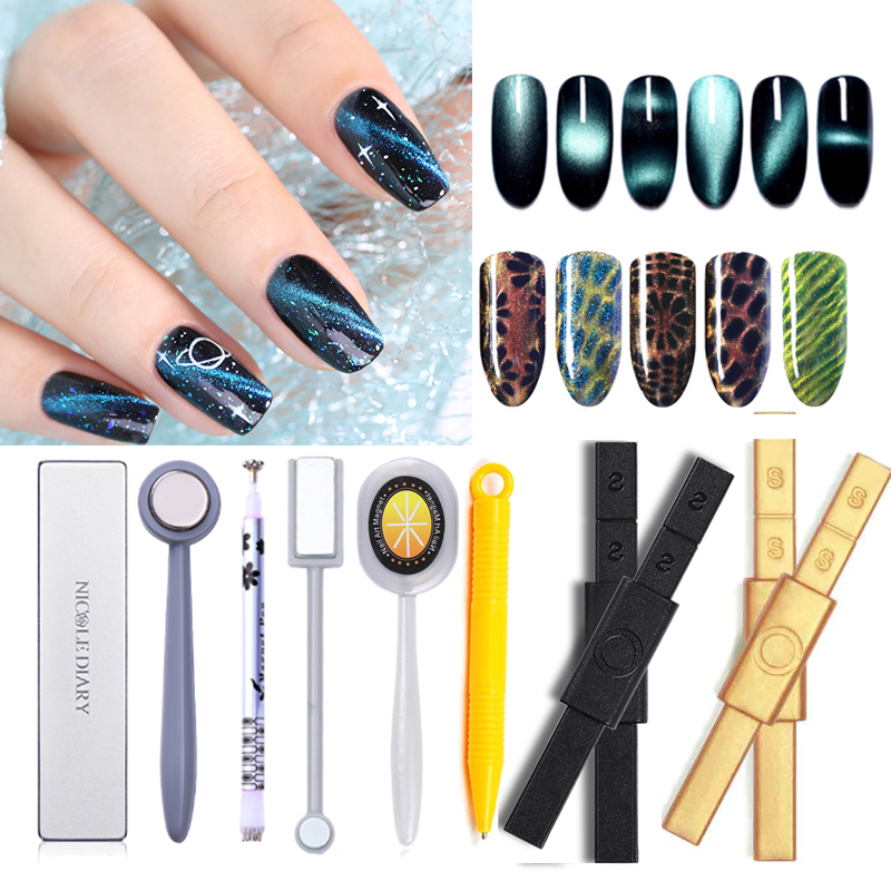 NICOLE DIARY 5D Cat Eye Magnetic Plate Thick 19 Patterns Strong Magnet For UV Gel Polish Manicure Nail Art Tool