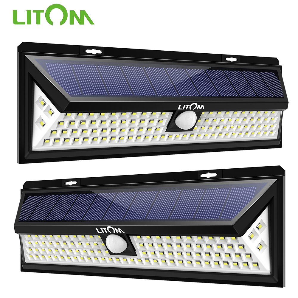 2 Pack LITOM 102 LED Solar Lights Outdoor Motion Sensor Security Wall Lamp Light Waterproof Energy Saving Wireless Garden Light