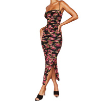 Women Spaghetti Strap Ruched Sexy Dress Strapless Backless Bodycoc Fashion Printed Tube Top Irregular Split Midi One piece Dress