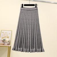 4xl good quality plus big size vintage women 2020 spring autumn winter Knit black gray pure color long skirts female A5439