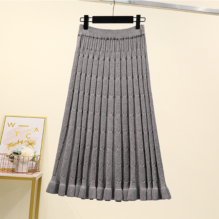 4xl Good Quality Plus Big Size Vintage Women 2020 Spring Autumn Winter Knit Black Gray Pure Color Long Skirts Female A5439
