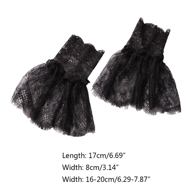 2020 New Women Horn Cuffs Fake Sleeve Crochet Eyelash Floral Lace Sweater Wrist Warmers