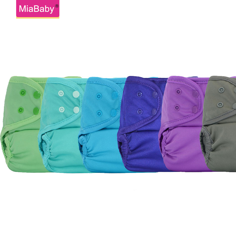 Miababy 6pcs/lotWholesale One Size Cloth Diaper Cover Waterproof, Breathable And Reusable Easy To Use Same As Disposable Baby Di