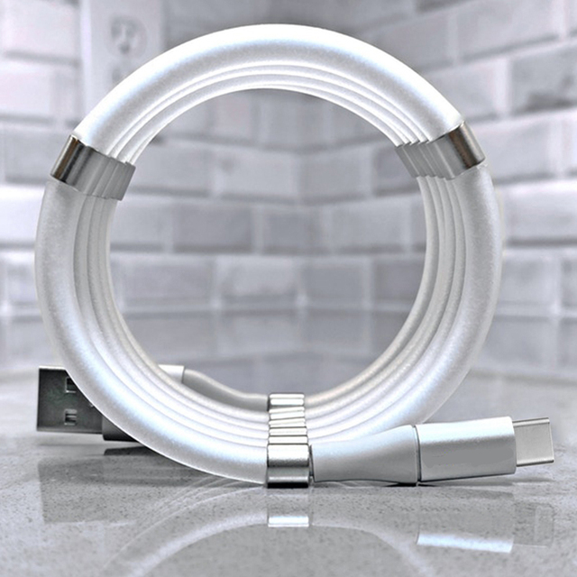 Magic Rope Cable for iPhone Samsung Hauwei Xiaomi LG Magnetic Automatically Retractable Magic Rope Data Cable Micro USB Type C