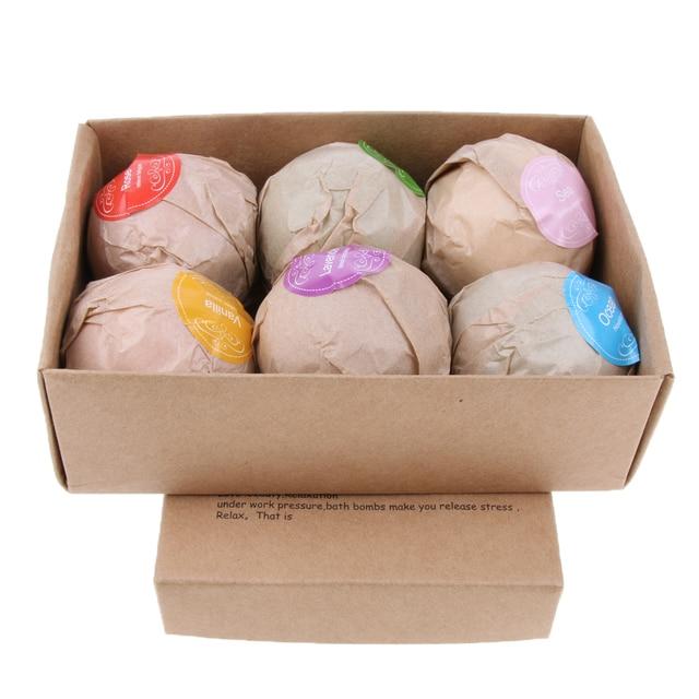 6pcs Handmade Natural Bath Salt Essential Oils Balls Kit Moisturize Dry Skin for Women Men Boys Kids 5