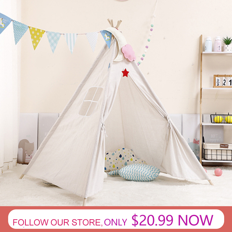 11 Types Large Teepee Tent Play Tent Kids Toys With Mat Outgoing Toys Portable Child Room Decor Canvas Original Triangle Tipi