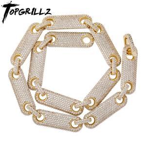 Ожерелье TOPGRILLZ, 12 мм, цепь в стиле хип-хоп, с микро покрытием, с кубическим цирконием AAA, мужская и женская цепь в подарок