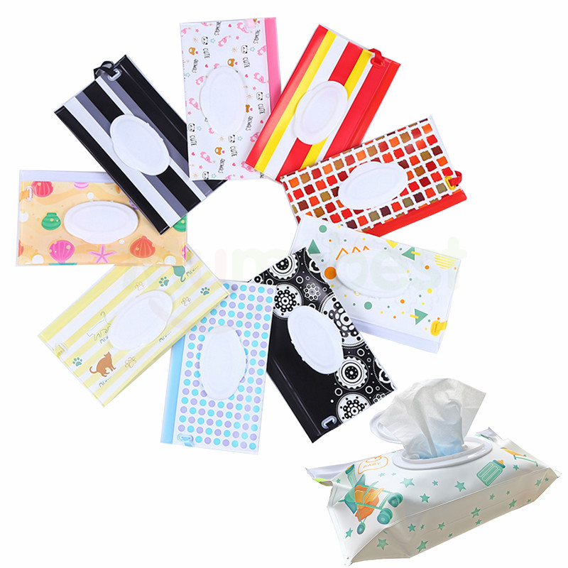 [Mumsbest]6PCS/Pack Wet Wipe Bag For Baby Reusable Wet Paper Cover Outdoor Travel Wet Paper Towel Container Sent Random Color