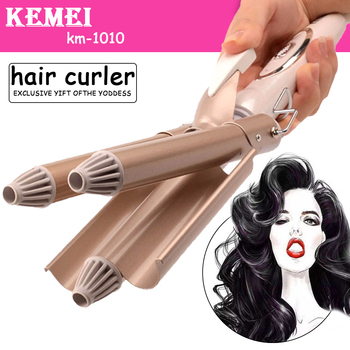 Kemei hair care & styling tools curler iron hair curling irons rotating style curl hair styler Ceramic Anti-Scald Wave Curler  4 professional hair curler crimper ceramic corrugated curler curling iron hair styler electric corrugation wave styling tools