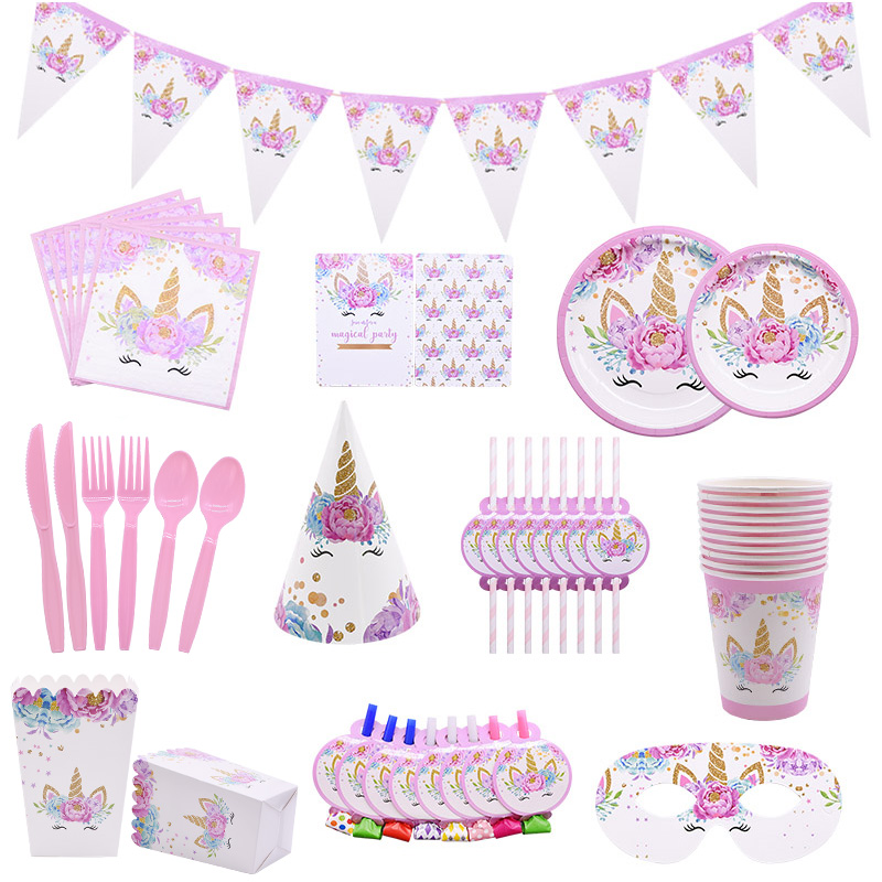 Unicorn Disposable Tableware Unicorn Party Supplies Paper Plate Cups Napkins Unicorn Birthday Party Decoration Baby Shower Girl
