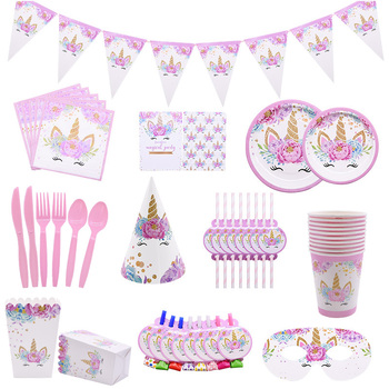 Unicorn Disposable Tableware Unicorn Party Supplies Paper Plate Cups Napkins Unicorn Birthday Party Decoration Baby Shower Girl pink unicorn disposable tableware plates napkins cups banner birthday party baby shower wedding events decor supplies