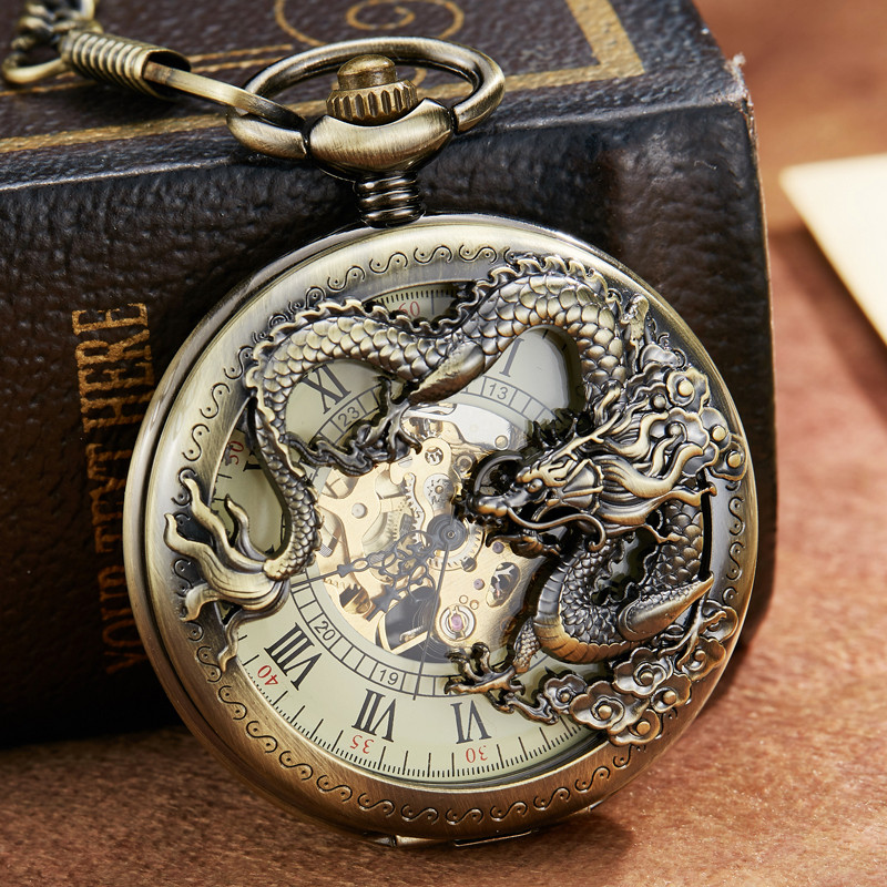 Antique Hollow Chinese Dragon Sculpture Mechanical Pocket Watch Men Retro Luckly Symbol Roman Skeleton Steampunk Clock Fob Chain