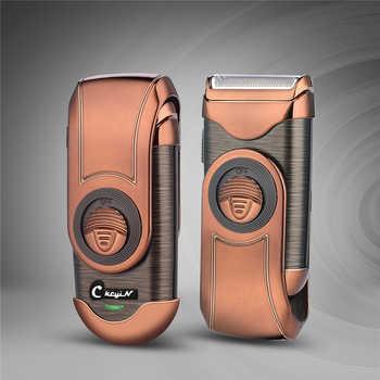 Máquina de barbear barbeador elétrico 3d flutuante recarregável navalha única lâmina reciprocating shaver com costeletas trimmer 0