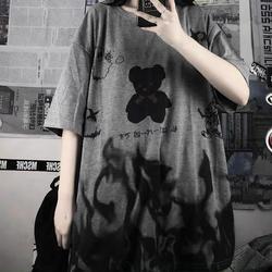Camisa de manga curta feminina solta era fina oversized meia-mangas compridas roupas maré harajuku t camisa vintage brandy dropshipping