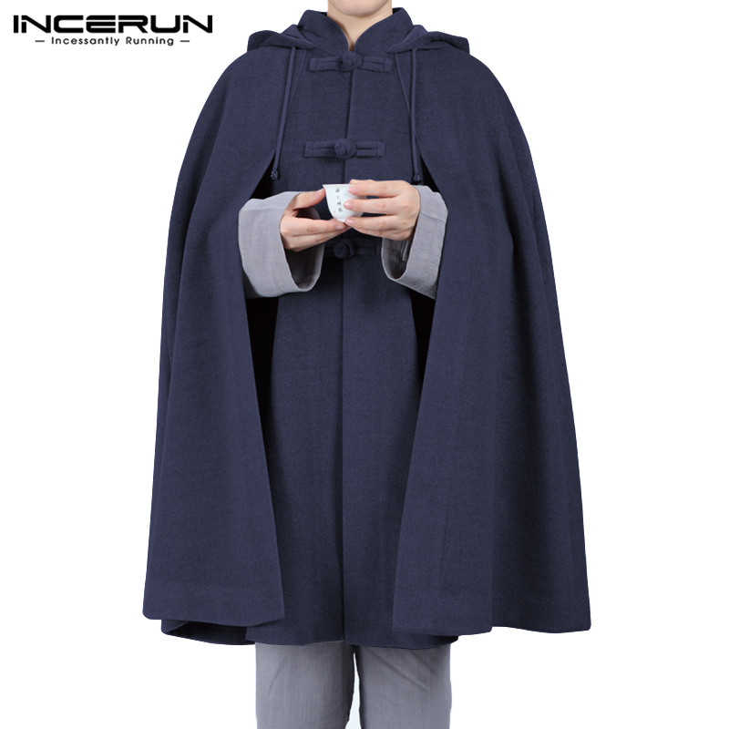 INCERUN Men Cloak Coats Solid Hooded Trench Retro Button Casual 2020 Loose Streetwear Jackets Fleece Cape Men Windbreaker S-5XL
