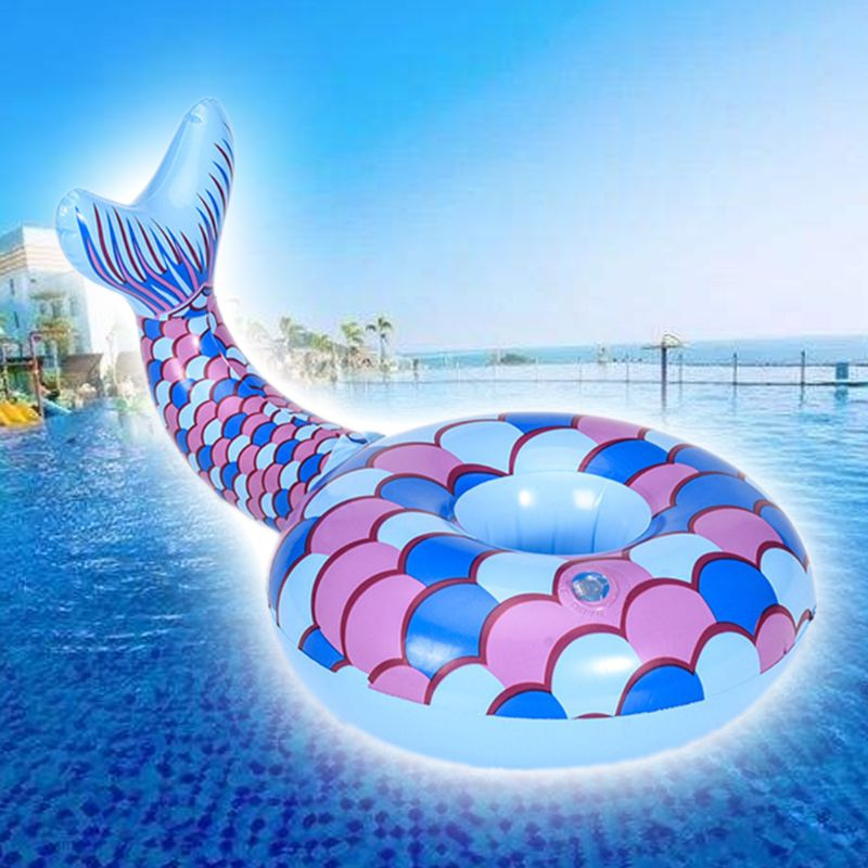 Sweet Beauty Fish Shape Cup Holder Inflatable Floating Coaster Summer Children Kids Swimming Toy