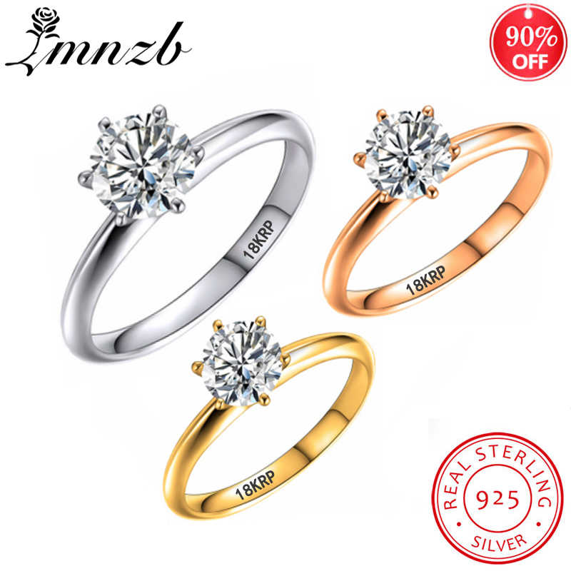 Lmnzb Hebben 18K Rgp Stamp Pure Solid Wit/Geel/Rose Gold Ring Solitaire 2.0ct Lab Diamond Engagement trouwringen Voor Wome