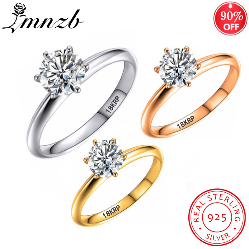 LMNZB Have 18K RGP Stamp Pure Solid White/Yellow/Rose Gold Ring Solitaire 2.0ct Lab Diamond Engagement Wedding Rings For Wome