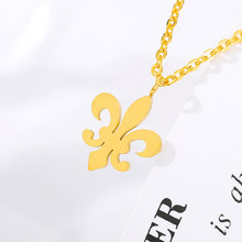 Fashion Alien Cross Choker Necklace Woman Gold Sliver Stainless Steel Pendant Necklace Minimalist Fleur-de lis Iris Jewelry(China)