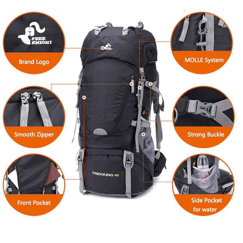 Free Knight 60l Outdoor Hiking Backpacks Rucksack Men Backpack Travel Climbing Bags Waterproof Travel  Trekking Camping Backpack (11)