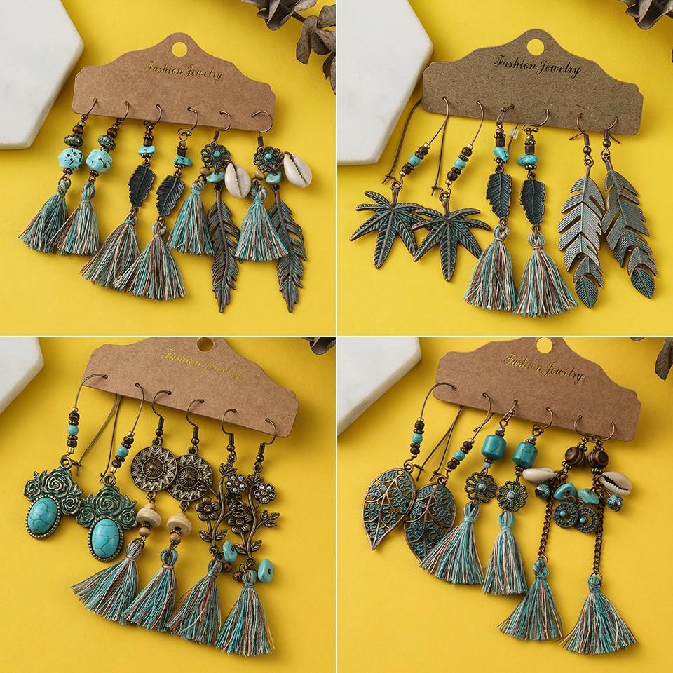 Bohemia Long Tassel Earrings Sets For Women Girls Green Brown Fringe Earrings Jewelry Ethnic Stones Shell Wooden Leather Earring