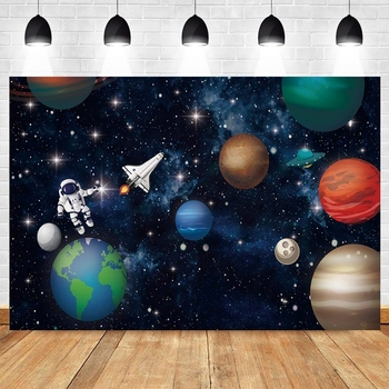 Universe Space Earth Planet Spacecraft Astronaut Backdrop Baby Boy Birthday Party Vinyl Photography Background for Photo Studio