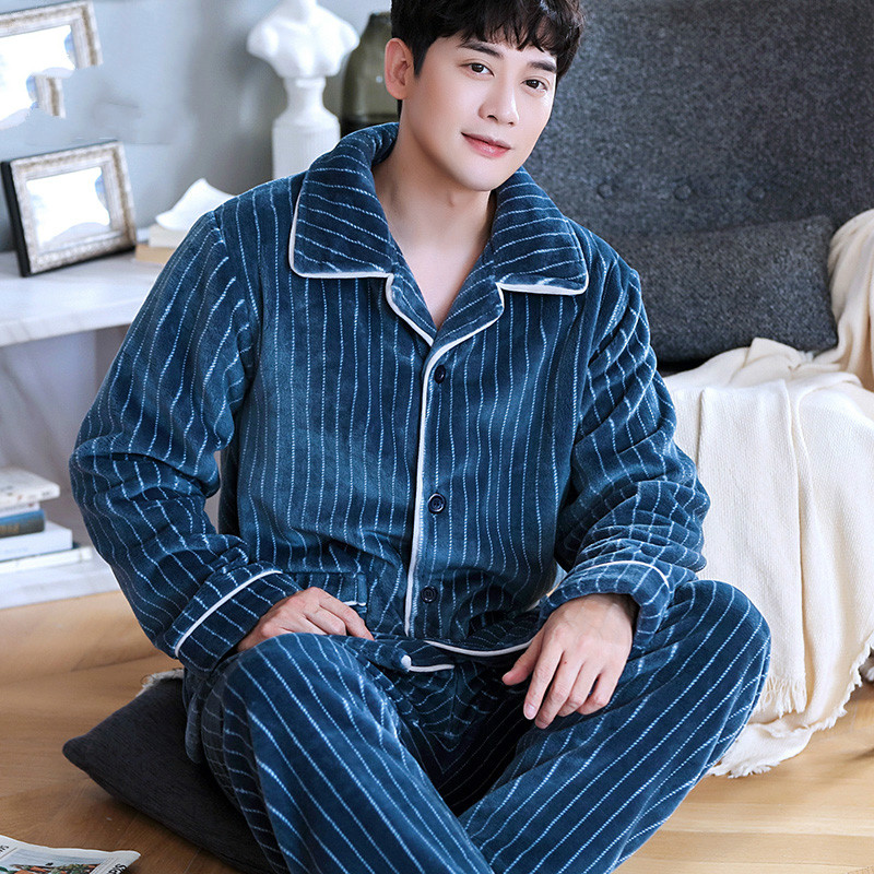 H5899 Thick Coral Velvet Men Pajamas Set Flannel Autumn Winter Long Sleeve Sleepwear Male Leisure Lapel Comfortable Nightwear