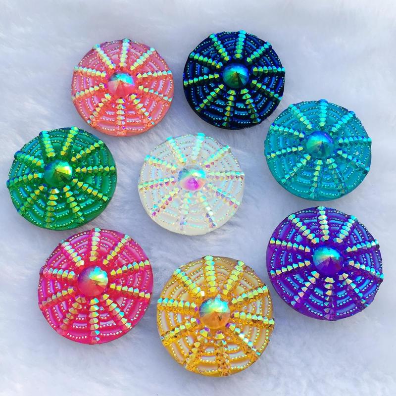 40PCS 30mm Spider web Round resin Rhinestones AB Stones For Garment DIY button B86*5