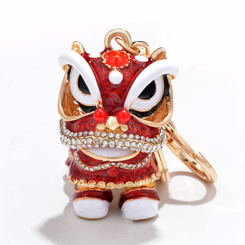 Chinese Festival Crystal Rotatable Lion Dance Men Car Keychain Lucky Elephant Key Chain Ring Women Bags Holder Charm