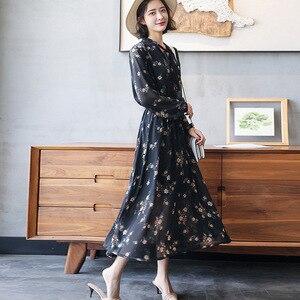Image 4 - 2020 długie kobiety sukienka wiosna eleganckie Balck sukienki w kwiaty linia elastyczna talia szyfonowa luźna długość kostki damska sukienka