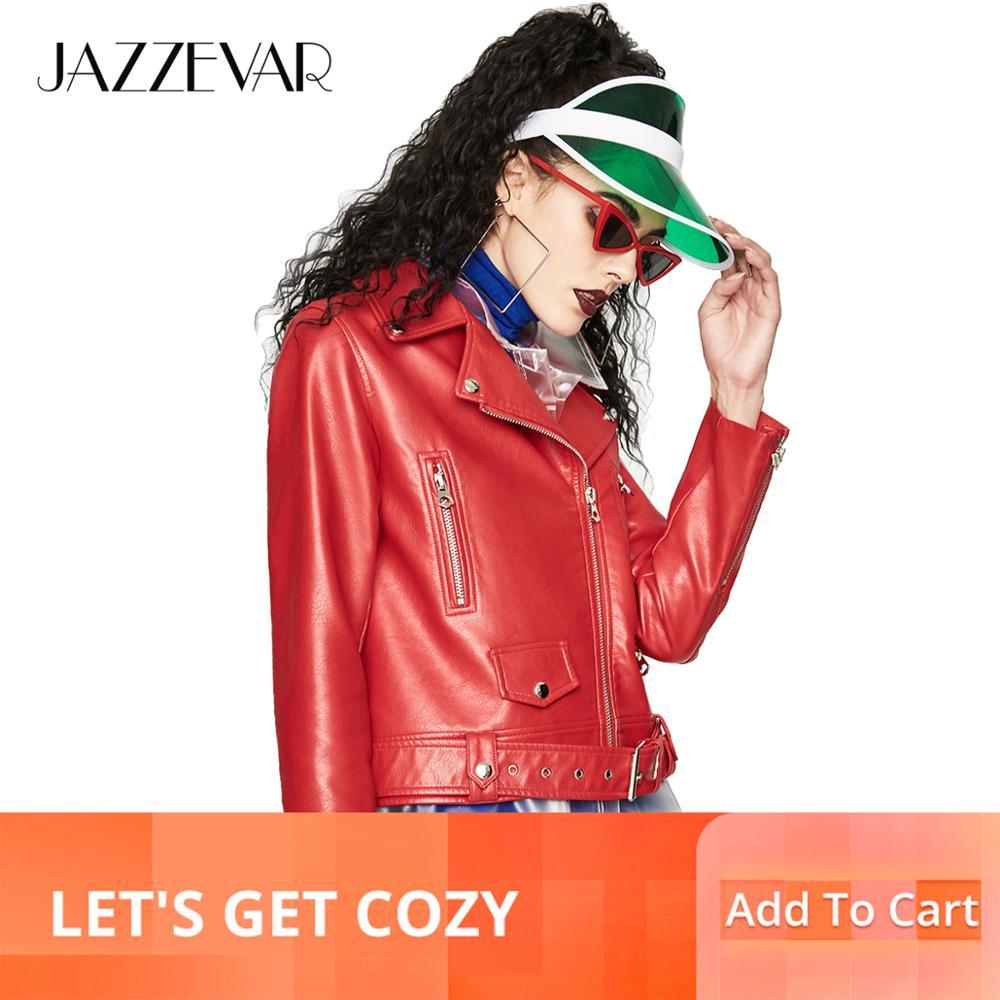 Jazzevar 2019 가을 새로운 패션 거리 여성 pu 가죽 자 켓 짧은 지퍼 숙 녀 기본 자 켓 좋은 품질 ya7026-에서가죽 & 스웨드부터 여성 의류 의  그룹 1