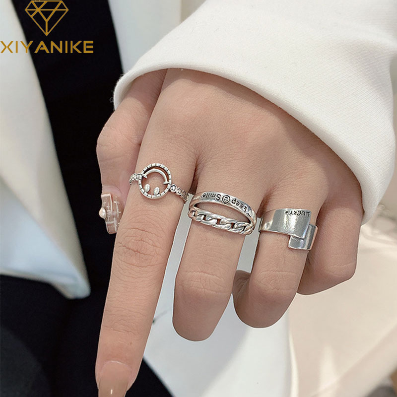 XIYANIKE Vintage 925 Sterling Silver Smiling Face Finger Rings Fashion Simple Weaving Width Punk Ring Party Jewelry For Women