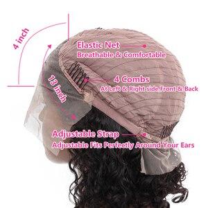 Image 4 - VSHOW 13 × 4 水波ショートボブかつら事前摘み取ら赤ん坊の毛人毛かつら女性のための 130 の Remy レースのフロントブラジル髪かつら