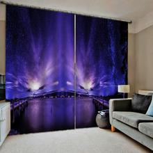 Luxury Blackout 3D Window Curtains For Living Room Bedroom night scenery curtains purple blue blackout curtain