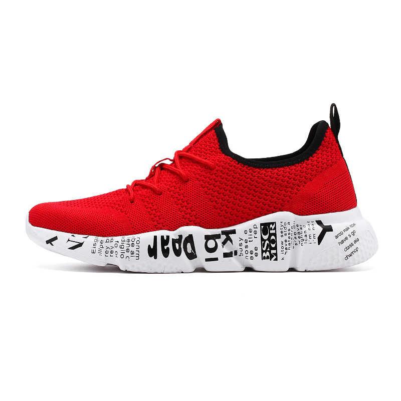 2019 nuevos zapatos de hombre zapatillas transpirables ligeros zapatos casuales para hombres con cordones cómodos zapatillas planas para correr 39 ~ 47