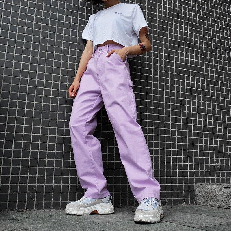 Deeptown Purple High Waist Pants Women Cotton Cargo Pants Streetwear Trousers 2020 Full Length Solid Casual Pants Ladies