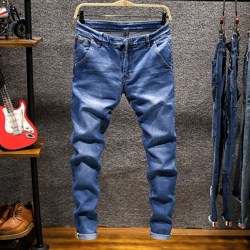 HEFLASHOR Autumn New Men's Elastic Cotton Stretch Jeans Loose Fit Denim Trousers Men's Brand Fashion Wear And Washed Jean Pants