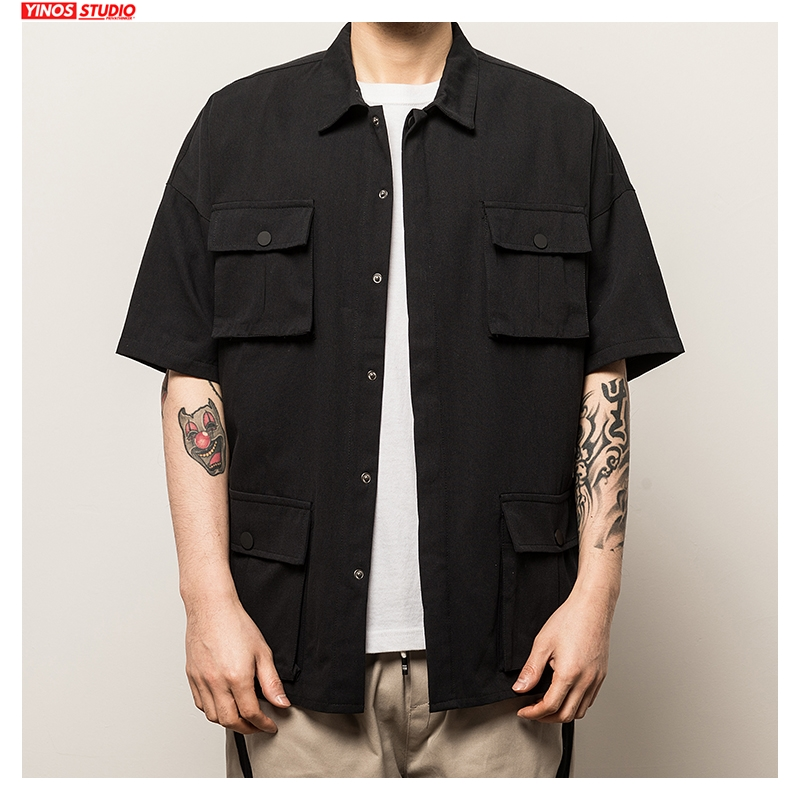 Dropshipping New Mens Solid Pockets 2020 Short Sleeve Shirts Men O-Neck Spring Hip-Hop Harajuku Shirt Male Short Sleeve 5XL Tops