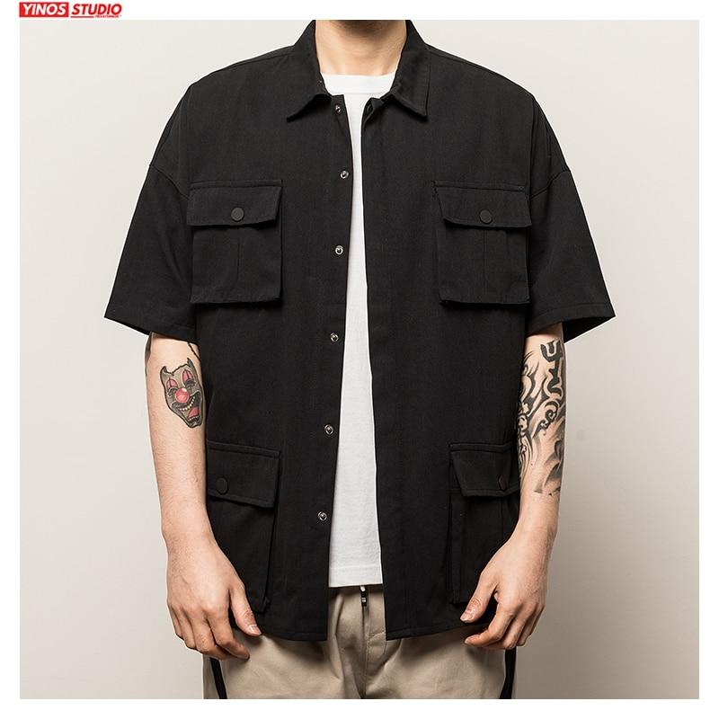 Dropshipping New Mens Solid Pockets 2020 Short Sleeve Shirts Men O-Neck Spring Hip-Hop Harajuku Shirt Male Short Sleeve 5XL Tops