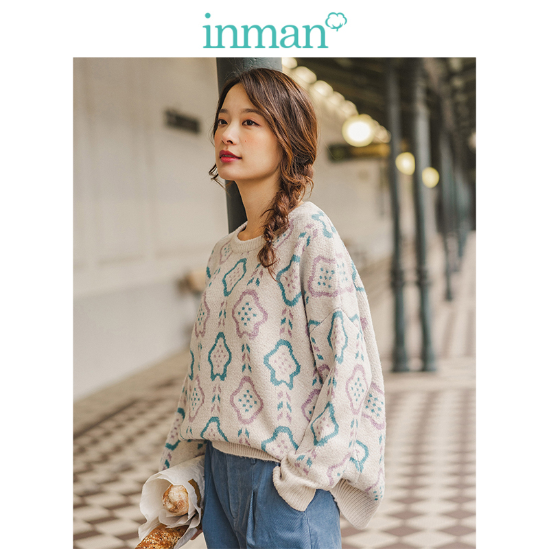 INMAN 2019 Winter New Arrival Casual Jacquard O-neck Drop-shoulder Sleeve Loose Women Pullover