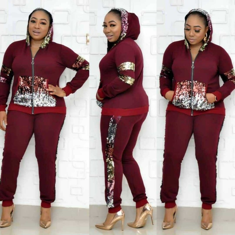 2020 Africa Women Winter Handmade Sequined Pattern Long Sleeve Knitted Pullover Tops Trousers 2PCS Clothing Sets