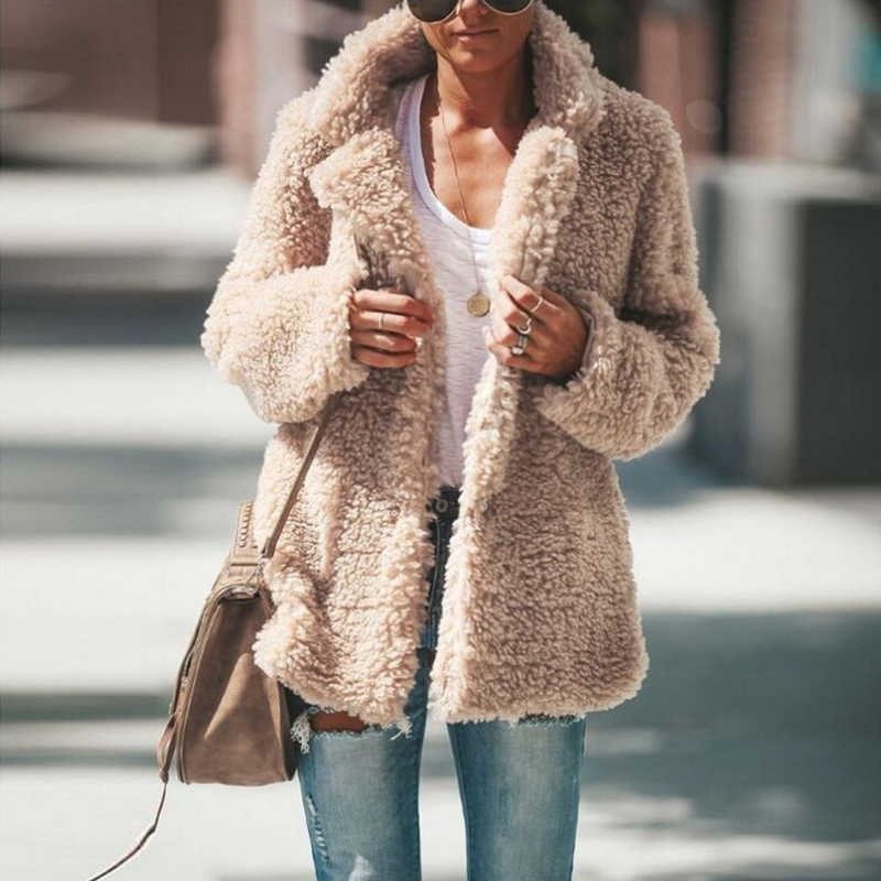 Women Coat Autumn Winter Faux Fur Jacket Coat Women Large Size Plush Overcoat 2019 New Office Ladies Long Sleeve Open Stitch