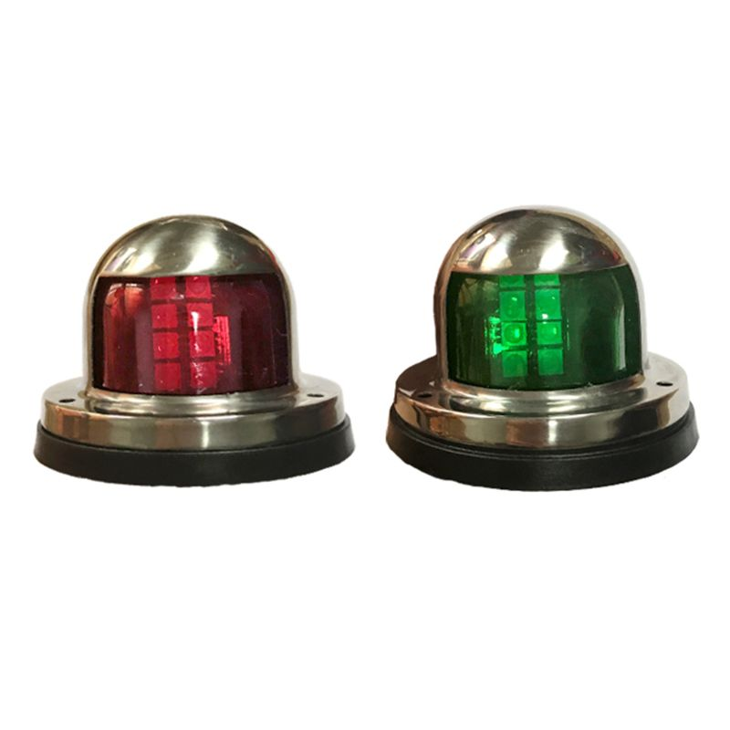 12V Stainless Steel Waterproof Bow Navigation Indicator Spot Light 1Pair Stainless Steel Marine Boat Yacht LED Warning Light