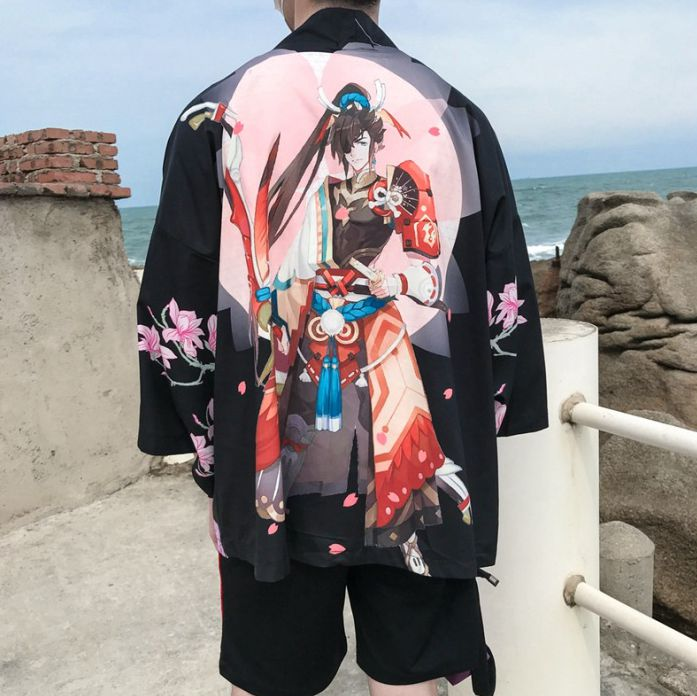 2019 Traditional Japanese Kimono Yukata Women And Man Japanese Short Robe Loose  Kimomo Japanese Cardigan Kimono Japones Haori