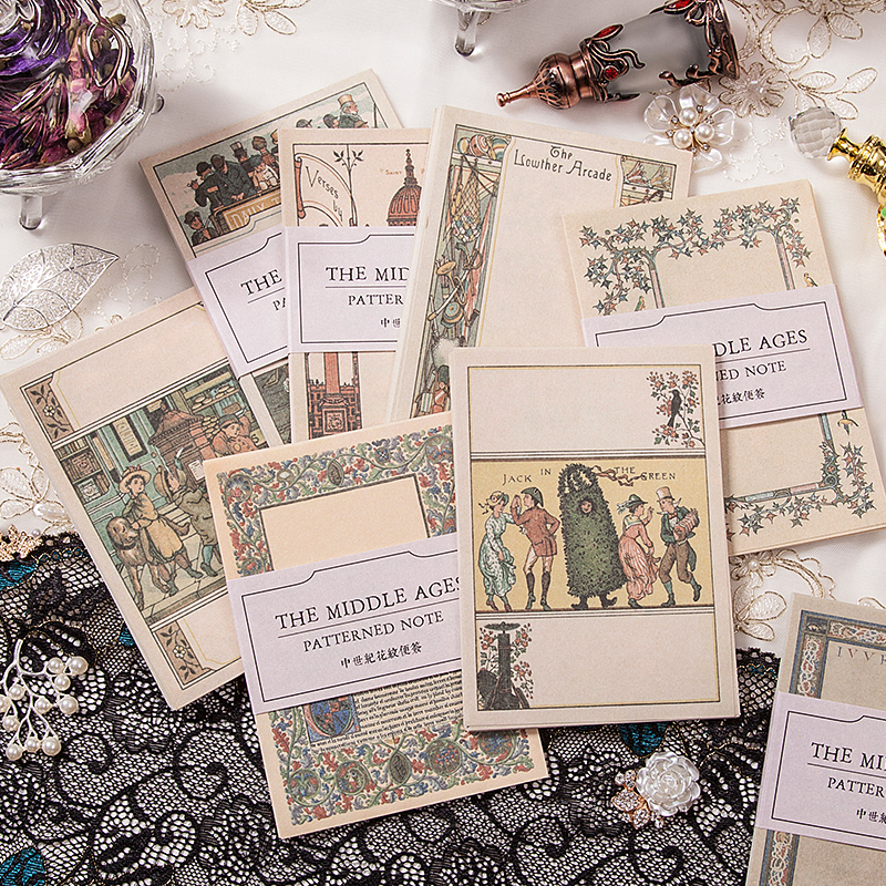 Medieval Series Memo Pad Message Sticky Notes Decorative Vintage Pattern Notepad Note Paper Memo Stationery Office Supplies