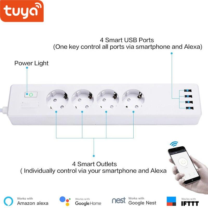Smart WiFi multiprise Tuya Smart App contrôle type-f 4 prises 4 Ports USB contrôler individuellement Alexa Google Home Compatible 5.0