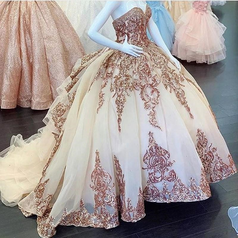 Rose Gold Sequins Applique Quinceanera Dresses 2020 Sparkly Crystal Blush Vestidos De 15 Años Off Shoulder Sweet 16 Dress
