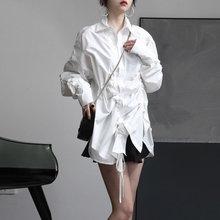 Europa sznurek biała bluzka moda nowy 2020 wiosna elegancki pełna rękaw pojedyncze piersi mniejszości dorywczo luźna koszula DMY2855 tanie tanio tvvovvin COTTON Poliester REGULAR Suknem Skręcić w dół kołnierz NONE Stałe Na co dzień