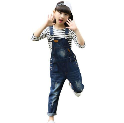 Kids Girls Overalls Jumpsuits 2019 Autumn New Girls Trousers Children Jeans Bib Overalls Baby Girls Denim Suspenders Pants in Overalls from Mother Kids